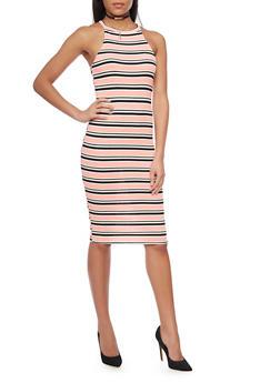 Mid Length Striped Bodycon Dress - 1094058752286