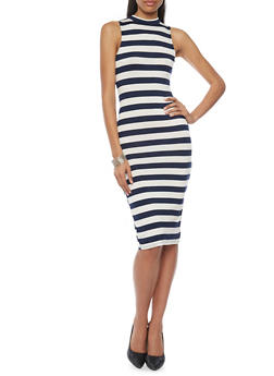 Sleeveless Stripe Mock Neck Bodycon Dress - 1094058752287