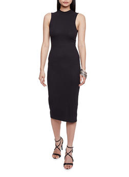 Sleeveless Rib Knit Mock Neck Dress - BLACK - 1094058752289