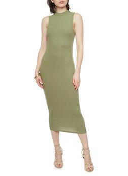 Sleeveless Rib Knit Mock Neck Dress - OLIVE - 1094058752289
