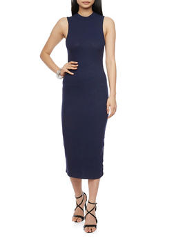 Sleeveless Rib Knit Mock Neck Dress - 1094058752289