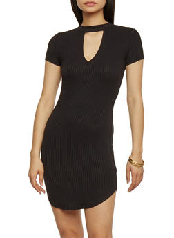 Rib Knit Mock Neck Bodycon Dress with Keyhole Neck - BLACK - 1094058752291