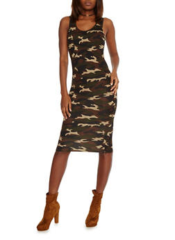 Camo Print Bodycon Tank  Dress - 1094058752301