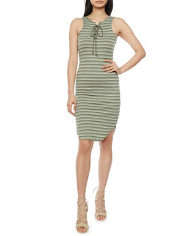 Striped Sleeveless Lace Up Rib Knit Dress - 1094058752336