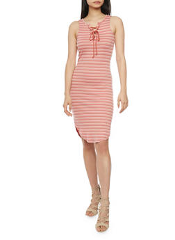 Striped Rib Knit Lace Up Dress - 1094058752336