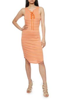 Striped Sleeveless Lace Up Rib Knit Dress - ORANGE - 1094058752336