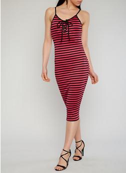 Striped Sleeveless Lace Up Bodycon Dress - BLACK/FUSCHIA - 1094058752366