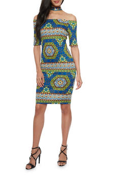 Medallion Printed Off the Shoulder Dress - 1094058752379
