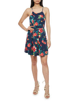 Sleeveless Floral Skater Dress with Cross Back Straps - 1094058752381