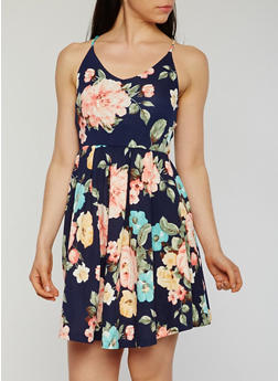 Sleeveless Floral Open Back Skater Dress - 1094058752382