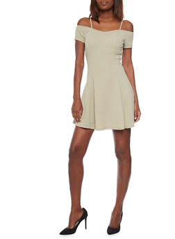 Textured Knit Short Sleeve Off The Shoulder Skater Dress - 1094058752383