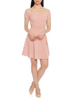 Textured Knit Short Sleeve Off The Shoulder Skater Dress - MAUVE - 1094058752383