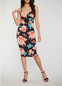 Sleeveless Floral Faux Wrap Bodycon Dress - 1094058752384