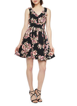 Sleeveless Floral Print Skater Dress - 1094058752386