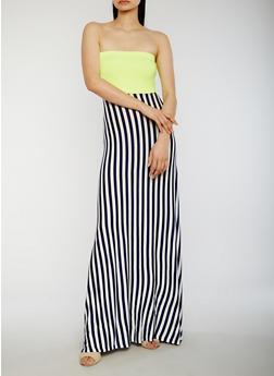 Strapless Striped Maxi Dress - 1094058752389