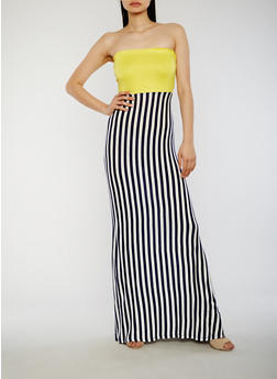 Strapless Striped Maxi Dress - 1094058752389