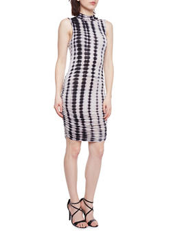 Tie Dye Mock Neck Bodycon Dress with Ruched Sides - 1094058752391