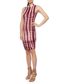 Tie Dye Mock Neck Bodycon Dress with Ruched Sides - BURGUNDY - 1094058752391