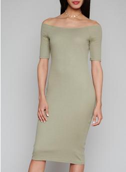 Short Sleeve Off the Shoulder Rib Knit Dress - 1094058752392