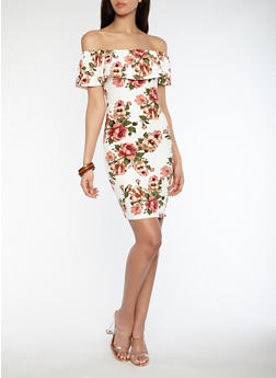 Soft Knit Floral Off the Shoulder Bodycon Dress - 1094058752409