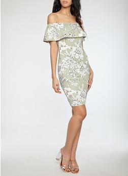 Peach Floral Soft Knit Off the Shoulder Dress - 1094058752410