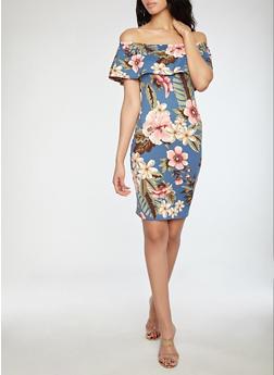 Floral Soft Knit Off the Shoulder Dress - 1094058752411