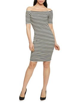 Striped Off Shoulder Bodycon Dress - 1094058752499