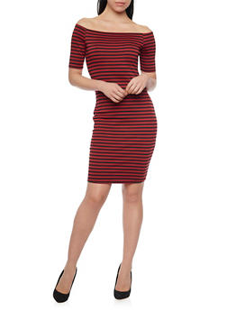 Striped Off Shoulder Bodycon Dress - 1094058752499