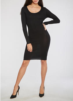 Rib Knit Sweater Dress with Cross Back Detail - BLACK - 1094058752593