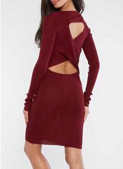 Rib Knit Sweater Dress with Cross Back Detail - 1094058752593