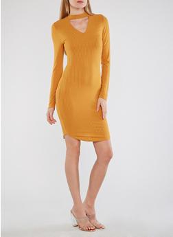 Round Hem Keyhole Midi Dress - 1094058752601