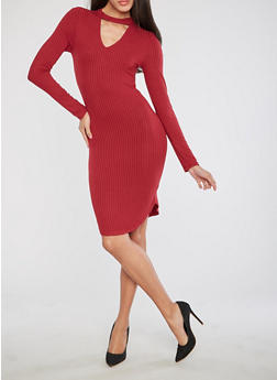 Round Hem Keyhole Midi Dress - 1094058752601