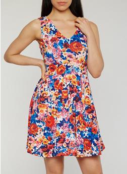 V Neck Floral Skater Dress - 1094058752723
