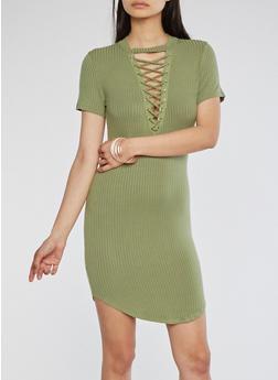 Rib Knit Lace Up T Shirt Dress - SAGE - 1094058752779