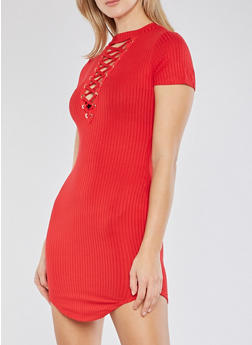 Rib Knit Lace Up T Shirt Dress - 1094058752779