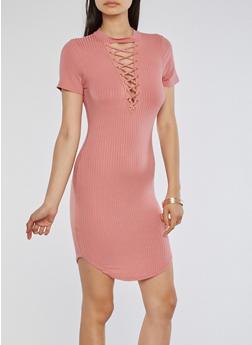 Rib Knit Lace Up T Shirt Dress - ROSE - 1094058752779