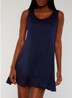 Flutter Hem Sleeveless Shift Dress - 1094058753042