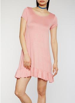 T shirt Dress with Flounce Hem - 1094058753043
