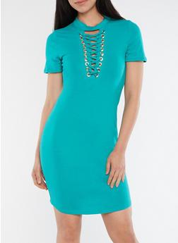 Lace Up T Shirt Dress - 1094058753138