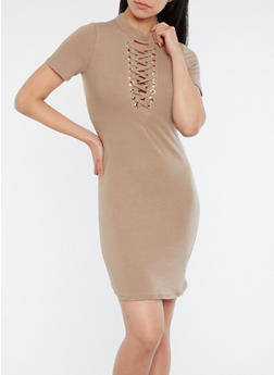 Lace Up T Shirt Dress - 1094058753138