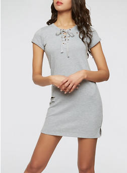 Distressed Lace Up Sweatshirt Dress - 1094058753504