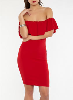 Crepe Knit Off the Shoulder Bodycon Dress - 1094058753505