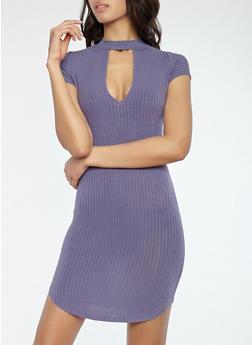 Ribbed Knit Choker Neck Dress - 1094058753924
