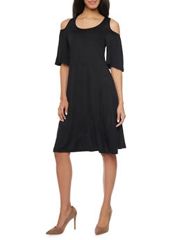 Cold Shoulder Mid Length Shift Dress - BLACK - 1094058930109
