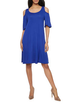 Cold Shoulder Mid Length Shift Dress - 1094058930109