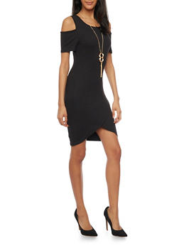 Cold Shoulder Mini Dress with Tulip Dress - BLACK - 1094058930111