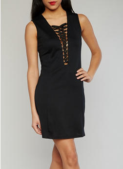 Plunging Lace Up V Neck Dress - 1094058930120