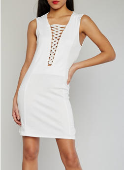 Plunging Lace Up V Neck Dress - WHITE - 1094058930120