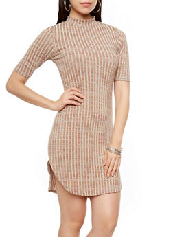 Short Sleeve Mock Neck Ribbed Mini Dress with Rounded Hem,BEIGE,medium