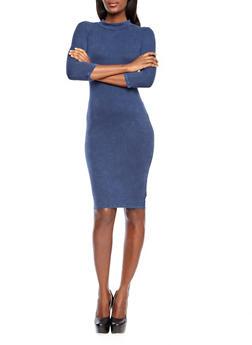 Three-Quarter Sleeve Rib Knit Bodycon Midi Dress,DENIM BLUE,medium